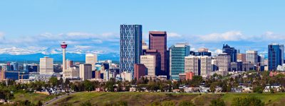Panorama of Calgary and Rocky Mountains. Calgary, Alberta, USA