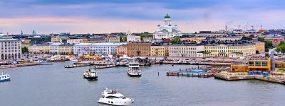 Helsinki cityscape with Helsinki Cathedral, South Harbor and Market Square Kauppatori , Finland. ID 132092583 © Elina | Dreamstime.com